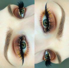 orange eye make up, winged eyeliner, yellow eyeliner Pretty Makeup, Love Makeup, Makeup Inspo, Makeup Art, Beauty Makeup, Makeup Meme, Simple Makeup, Makeup Goals, Makeup Tips