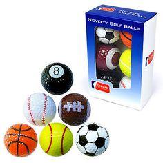 The #PGATOUR 6 pack novelty sports #GolfBalls  #Football #Pool, #AmericanFootball #Baseball, #Basketball and a #TennisBall #Golf #GolfShop #GolfInUAE #eGolfMegastore #eGolf