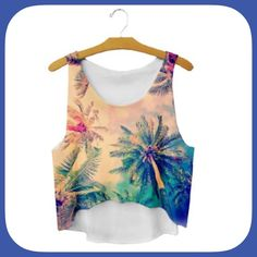 NWT Cute Tropical Crop Tank Top This top has all raw edges! It would be adorable over a swim suit or with cute shorts! Pretty colors too! Boutique Tops Crop Tops