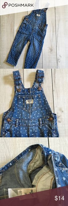 OshKosh Heart Overalls Size 2T. OshKosh B'gosh overalls with heart pattern. Excellent used condition, worn once. Smoke free home. Unscented laundry products. OshKosh B'gosh Bottoms Overalls
