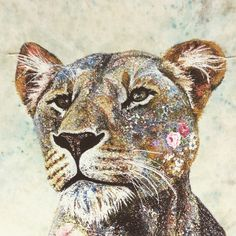 Lioness detail by Sophie Standing: Textile Embroidery
