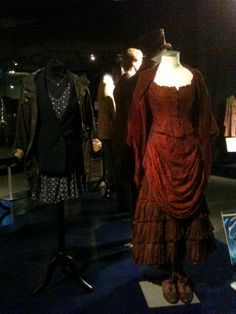 Clara's outfits at the Doctor Who Experience, Cardiff. They had her blazer and dress from Hide, with her jacket from The Bells of Saint John, and her barmaid costume from The Snowmen.