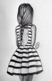 Image result for sketch of a girl from behind