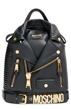 Moschino 'Biker Jacket' Backpack at Nordstrom.com. Biker jacket meets backpack with this clever statement piece that turns a sartorial staple into a street-chic carryall. Trapunto stitching, exposed goldtone zippers and a logo-laden belt add an authentic touch, while a top handle and optional, adjustable straps make the look totally wearable.
