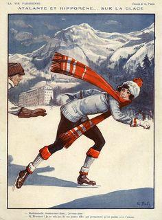 La Vie Parisienne 1924 France by The Advertising Archives Vintage Magazines, Vintage Postcards, Vintage Cards, Vintage Winter, Vintage Christmas, Belle Epoque, Winter Fun, Winter Time, Advertising Archives