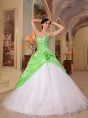 2013 Spring Green and White A-Line / Princess Sweetheart With Beading Tulle and Taffeta Quinceanera Dress
