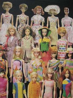 VIntage barbie doll collection.