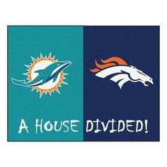 And the rivalry goes on keeping the house divided. Get ready for the biggest game of the year with the Miami Dolphins vs Denver Broncos house divided area rug. Both durable and attractive the house divided rug features a nylon face carpet with no. Nfl Flag, Nfl Football, Denver Broncos, Pittsburgh Steelers, Broncos Gear, Broncos Logo, Sports Flags, Nfl Miami Dolphins, Nylon Carpet