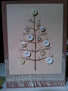 Cute Natural Christmas Card…with burlap & prim button tree. Christmas Buttons, Christmas Card Crafts, Homemade Christmas Cards, Christmas Projects, Kids Christmas, Handmade Christmas, Holiday Crafts, Christmas Decorations, Natural Christmas