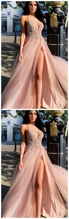 sexy pink prom dresses, spaghetti strap pink prom dresses, v neck pink prom dresses by olesaweddingdresses, $140.69 USD Long Prom Gowns, Pink Prom Dresses, Tulle Prom Dress, Homecoming Dresses, Evening Dresses, Dress Long, Party Dresses, Occasion Dresses, Wedding Dress