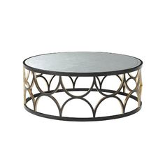 Cocktail Table, Ebonised Finish with Hand Gilt Accents, Circular Hand Leafed Silver Eglomisé Top, Trellis Sides
