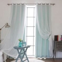 Aurora Home MIX & Match Curtains Blackout and Check Sheer Silver Grommet Curtain Panel Pair (Mint), Green, Size 52 x 84 Blackout Panels, Blackout Curtains, Window Treatment Store, Window Treatments, Grommet Curtains, Drapes Curtains, Drapery, Modern Curtains, Curtain Sets