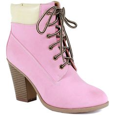 Reneeze Pink Pala Lace-Up Bootie ($15) ❤ liked on Polyvore featuring shoes, boots, ankle booties, ankle boots, lace up ankle boots, chunky heel booties, faux suede lace-up booties, short lace up boots and lace up chunky heel booties
