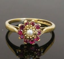 Vintage 9carat Yellow Gold Ruby & Pearl Cluster Ring (Size L 1/2) 9x9mm Head