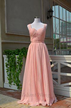 Blush Rosa Chiffon Sweetheart Ausschnitt Brautjungfer Kleid siehe durch Mesh Seite offen zurück Prom Kleid