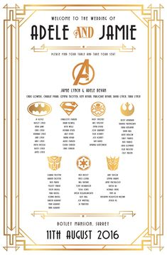 gatsby superhero wedding table seating plan http://www.wedfest.co/gatsby-superhero-themed-wedding-stationery/