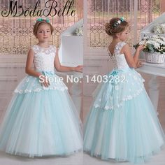 Handmade Flowers Children Pageant Dress Flower Girl Dresses For Weddings  Tulle Ball Gown Prom Party Communion 0f147bb6e595