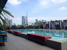 The terrace of the newly opened Ceresio 7 pools & Restaurant on the top of the Dsquared2 building