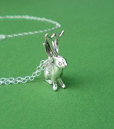 sterling silver jackalope necklace by cravejewelrydesign on Etsy, $28.00