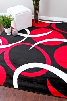Allstar Rugs Shaggy Area Rug With 3d Red And Black Lines Design