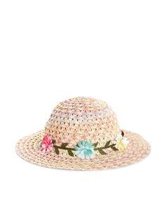 This space-dyed straw hat for baby girls is decorated with fabric flowers, and designed with a curved crown and a wide, floppy brim.
