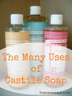 Uses of castile soap: body wash shaving lubricant hand soap homemade baby wipes multipurpose cleaner soft scrub washing laundry and dishes etc. Just don't mix it with vinegar - they cancel each other out! Homemade Cleaning Products, Cleaning Recipes, Natural Cleaning Products, Cleaning Hacks, Natural Products, Natural Cleaning Solutions, Natural Soaps, Cleaning Supplies, Cleaners Homemade