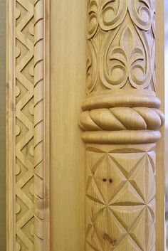 Pillar Design, Wood Carving Art, Acanthus, Wooden Doors, Wood Work, Woodworking, Embroidery, Pattern, Furniture