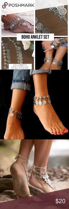 Silver Coin Boho Anklet Set Tibetan Foot Jewelry Beautiful bohemian coin metal anklet set. Set includes 2 anklets. Anklets can also be worn as bracelets. Great alone or layered with other accessories.    Material: Zinc Alloy Size: One size adjustable clasps Color: Antique silver  Tags: hippie, jewelry, body jewelry, anklet, anklets, coin, gypsy, tibetan, accessories, festival, summer, beach, set, burning man, bracelets, layered, stacked Jewelry