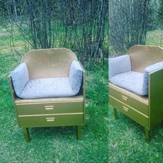 En liten kommode ble en lien gullstol til ei lita gulljente. Tub Chair, Accent Chairs, Bench, Storage, Furniture, Home Decor, Dresser, Upholstered Chairs, Purse Storage