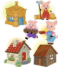 Three Little Pigs Houses, Three Little Pigs Story, Pig Images, Bird Crafts, Winter Crafts For Kids, Stories For Kids, Conte, Nursery Rhymes, Activities For Kids