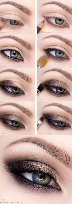 Natural Smokey Eye, Smoky Eyes, Smokey Eye For Brown Eyes, Natural Eye Makeup, Light Smokey Eye, Simple Smoky Eye, Easy Smokey Eye, Smokey Eye Steps, Green Smokey Eye