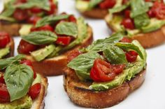 Whenever I make this avocado tomato bruschetta, I may as well serve nothing else along with it. It ends up being a waste. I've already given you my grape tomato bruschetta recipe, but ever since I starting adding avocado to it, it became a di [. Great Appetizers, Appetizer Recipes, Tomato Bruschetta, Bruschetta Recipe, Grilled Cheese Recipes, Party Food And Drinks, Everyday Food, Finger Foods, Avocado Toast