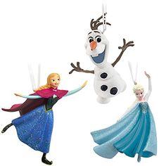 Hallmark Disney Frozen Elsa, Anna and Olaf Skating Set of Three Christmas Ornaments Skating
