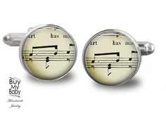 music sheet  cufflinks map city vintage gift by Knowledgeissosexy
