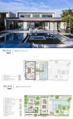Luxury House Plans, Luxury Homes Dream Houses, Dream House Plans, Modern Floor Plans, Modern House Plans, Mansion Plans, Pool House Plans, Villa Plan, Modern Villa Design