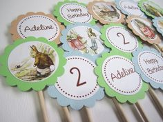 Personalized Peter Rabbit CupcakeToppers