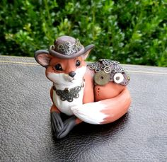 Steampunk polymer Clay Fox sculpture by mysticReflections