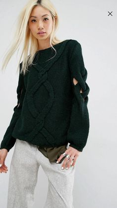 Knit jumper with cutouts
