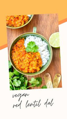 Rich, nourishing and delicious - this Vegan Red Lentil Dal is love at first bite. Come and enjoy comfort food at its tastiest! Lentil Dal Recipe, Dahl Recipe, Lentil Recipes, Lentil Dishes, Easy Vegan Dinner, Fresh Coriander, Weeknight Dinners, Vegans, Lentils