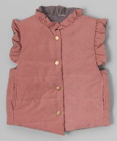 This Mauve Pink & Gray Ruffle Vest - Toddler & Girls is perfect! #zulilyfinds