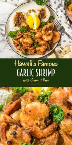Hawaii's Famous Garlic Shrimp w/ Coconut Rice Hawaiian Garl. - Hawaii's Famous Garlic Shrimp w/ Coconut Rice Hawaiian Garlic Shrimp - Shellfish Recipes, Seafood Recipes, Gourmet Recipes, Cooking Recipes, Healthy Recipes, Grilled Shrimp Recipes, Shrimp And Rice Recipes, Prawn Recipes, Cheap Recipes
