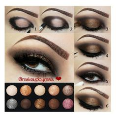 1 - Apply a black pencil on the concave outer and inner corners of the eyes.  2 - Apply color Deep Brown upon this pencil.  3 - Apply color Honey Brown on the mobile eyelid.  4 - Make outlined.  5 - In the waterline apply a white pencil, I used Nyx Jumbo Milk in color.