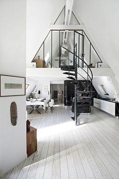 Loft style penthouse with industrial details in Paris | decordemon | Bloglovin'