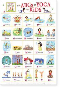 ABC yoga for kids.this would be kind of cute as a poster in my classroom. We actually do yoga on our brain breaks sometimes! Kids Yoga Poses, Yoga For Kids, Exercise For Kids, Children Exercise, Kids Workout, Abc For Kids, Kids Fun, Help Kids, Motor Activities