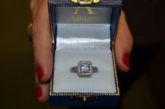 Square Halo Wedding Band & Engagement Ring 18kt White Gold (0.52ct.) - Allurez.com