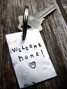 Personalized Stamped Keychain - Welcome Home. Perfect for New Home, Housewarming, First Home Gift, $17.00