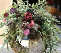 Floral Wreath Swag, Preserved Red Rose Eucalyptus Swag, Mossy Natural Evergreen , Moss Ball Green Eucalyptus Wreath, Pine Cone Winter Wreath on Etsy, $72.00