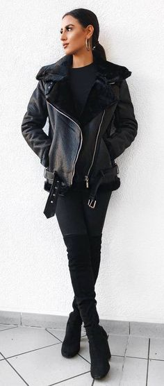 all black everything | leather jacket   sweater   jeans   over knee boots