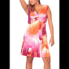 Tropical multi-toned-stretch dress. Colors:   Lilac and fuchsia, brown and beige and orange and fuchsia.  Sizes:  10-14 Dresses
