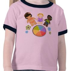 Beach Friends Children's Illustration Tee Shirt  A sweet vector design with three girls in fun beach attire standing on a rainbow beach ball and framed by coordinating flowers.  An original design by me.
